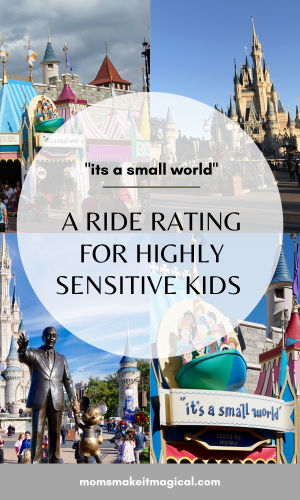 its a small world. a ride rating for highly sensitive kids. images of Walt Disney World.